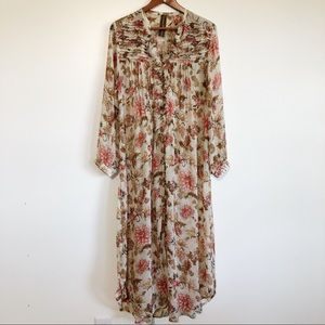 Anthro Aratta Silent Journey Sheer Boho Maxi Dress